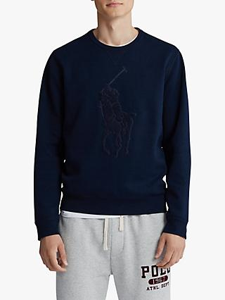 Polo Ralph Lauren Crew Neck Jersey Sweat Top, Navy/Tonal