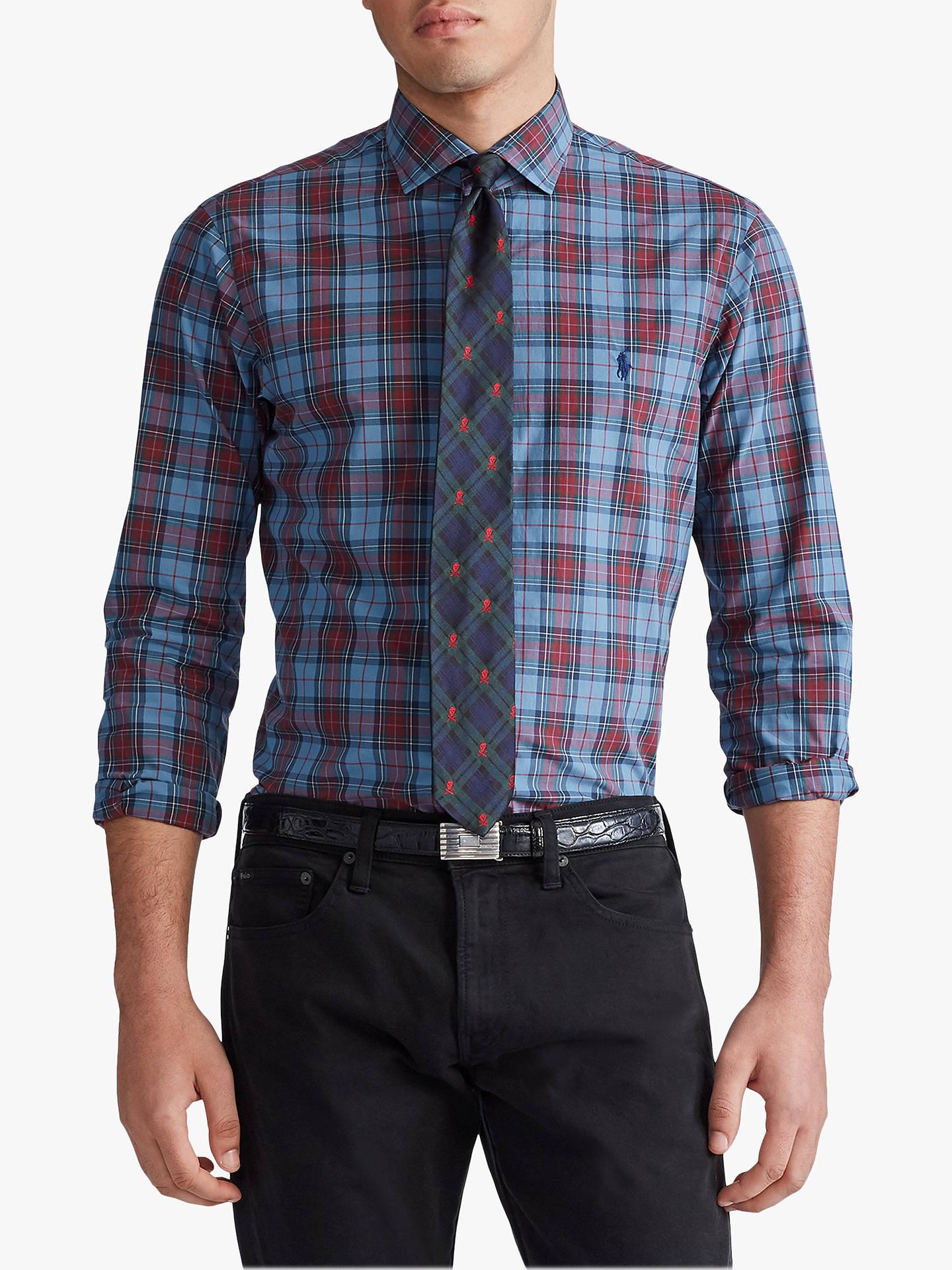 Polo Ralph Lauren Check Sports Shirt, Steel Blue/Wine Multi by Ralph Lauren
