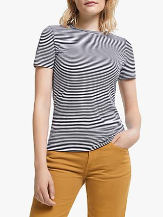 ARMEDANGELS Laraa Short Sleeve Stripe Top, Black/Off White