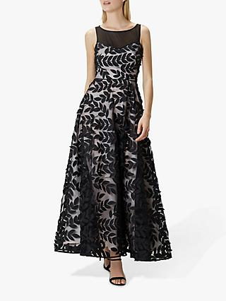 Coast Tulle Leaf Maxi Dress, Black