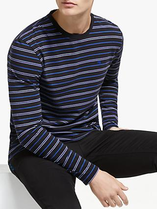 Scotch & Soda Long Sleeve Striped T-Shirt, Navy/Blue