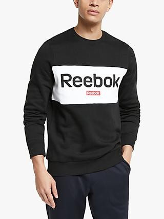 Reebok Training Essentials Linear Logo Sweatshirt, Black/Rebel Red