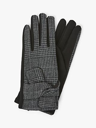 Unmade Creda Houndstooth Pleat Detail Gloves, Dark Grey/Black