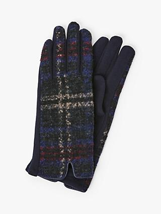 Unmade Deann Check Print Gloves, Navy