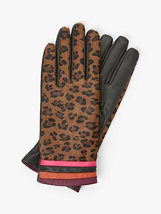 Unmade Minja Leopard Print and Stripe Leather Gloves, Chocolate/Multi
