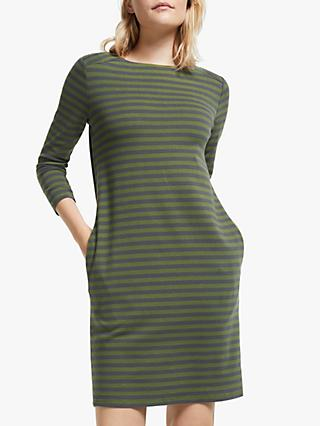 ARMEDANGELS Sayaa Stripe Jersey Dress,  Moss Green/Acid Black