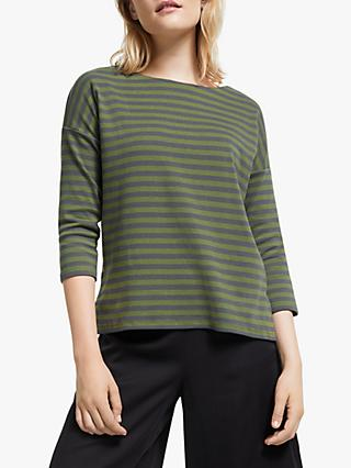ARMEDANGELS Saminaa Stripe Top, Moss Green/Acid Black