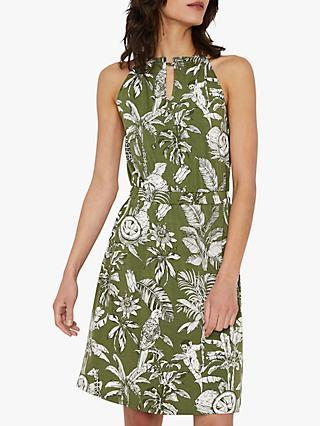 Warehouse Jungle Print Dress, Green Print