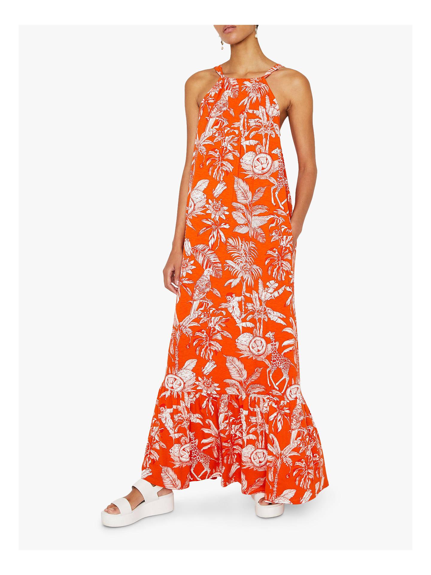 2a6fa2abad76c Warehouse Jungle Print Maxi Dress, Orange