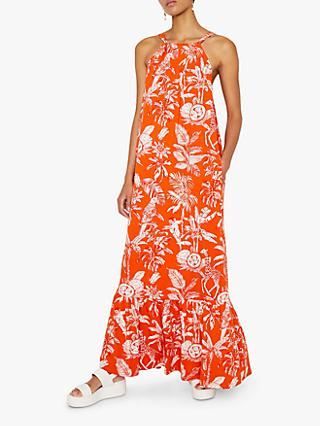 Warehouse Jungle Print Maxi Dress, Orange