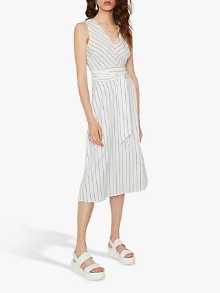 Warehouse Stripe V-Neck Dress, Neutral Stripe