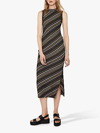 6ddbac1b6 Warehouse Diagonal Ribbed Midi Dress