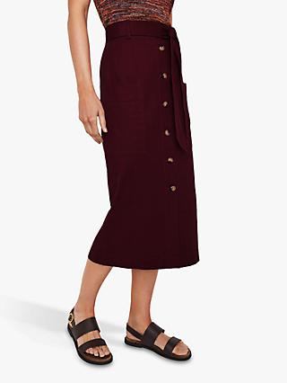 Warehouse Button Through Midi Skirt, Dark Red