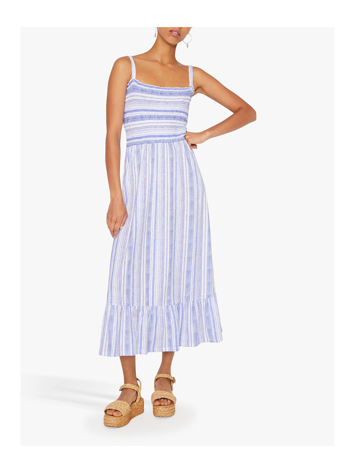 Warehouse Stripe Shirred Dress, Blue Stripe at John Lewis & Partners