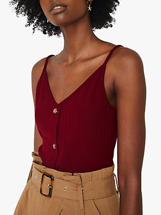 Warehouse Ribbed Button Detail Vest Top, Dark Red