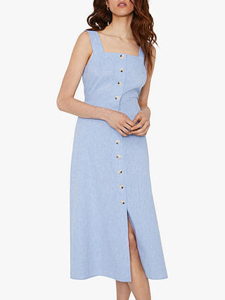Buy Warehouse Chambray Square Neck Midi Dress, Light Blue, 6 Online at johnlewis.com