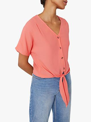 Warehouse Tie Front Short Sleeve Shirt, Coral