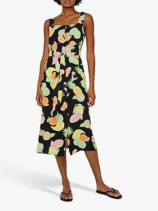 52018edc7884 Warehouse Fruit Salad Button Front Midi Dress, Black/White
