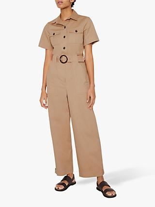 Warehouse Short Sleeve Cotton Jumpsuit, Beige