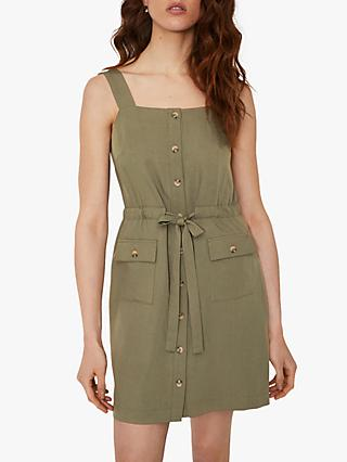Warehouse Utility Mini Dress, Khaki