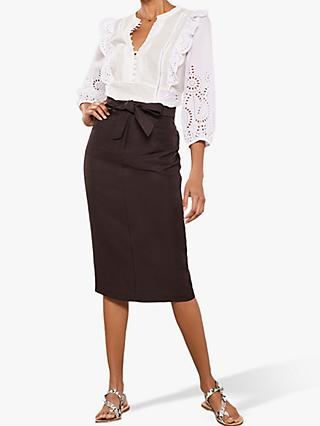Mint Velvet Pocket Pencil Skirt, Brown