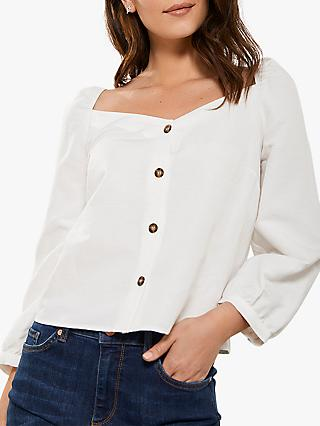 Mint Velvet Square Neck Buttoned Top, Ivory