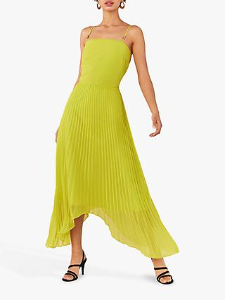 Oasis Pleat Asymmetric Dress, Lime Green