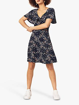 Oasis Juliette Floral Print Tie Front Dress, Blue
