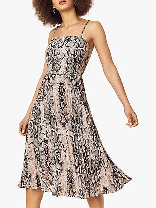 Oasis Snake Print Midi Dress, Multi/Grey
