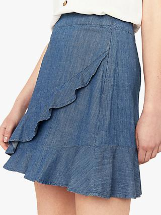 Oasis Ruffle Denim Mini Skirt, Blue