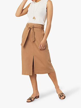 Oasis Twill Cotton Midi Skirt