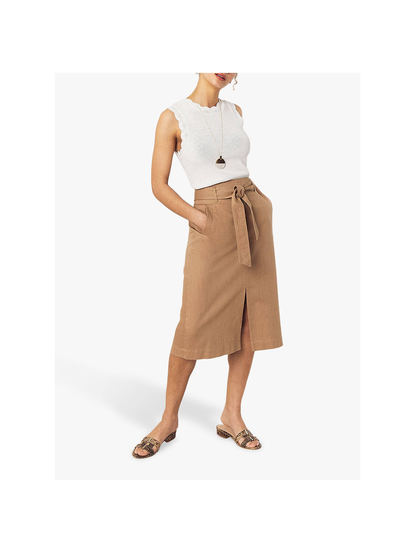 Buy Oasis Twill Cotton Midi Skirt, Stone, 6 Online at johnlewis.com
