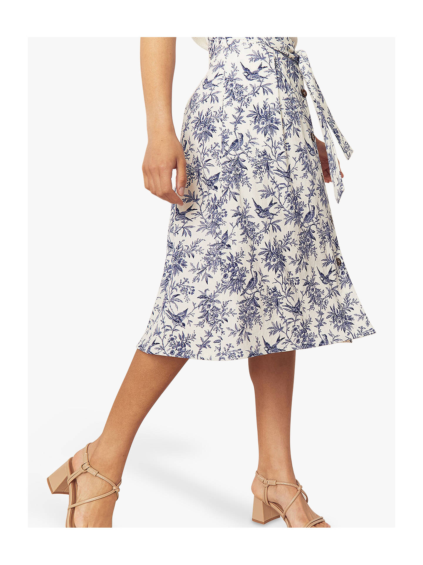 Buy Oasis Bernie Bird Midi Skirt, Multi, 6 Online at johnlewis.com
