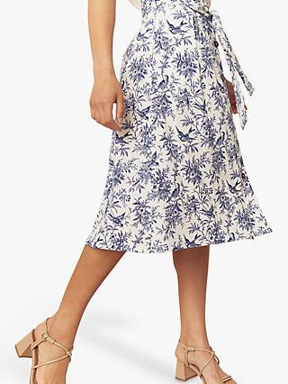 1350b3cf84c Oasis Bernie Bird Midi Skirt