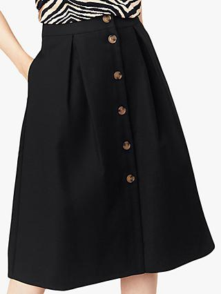 Oasis Button Through Midi Skirt, Black