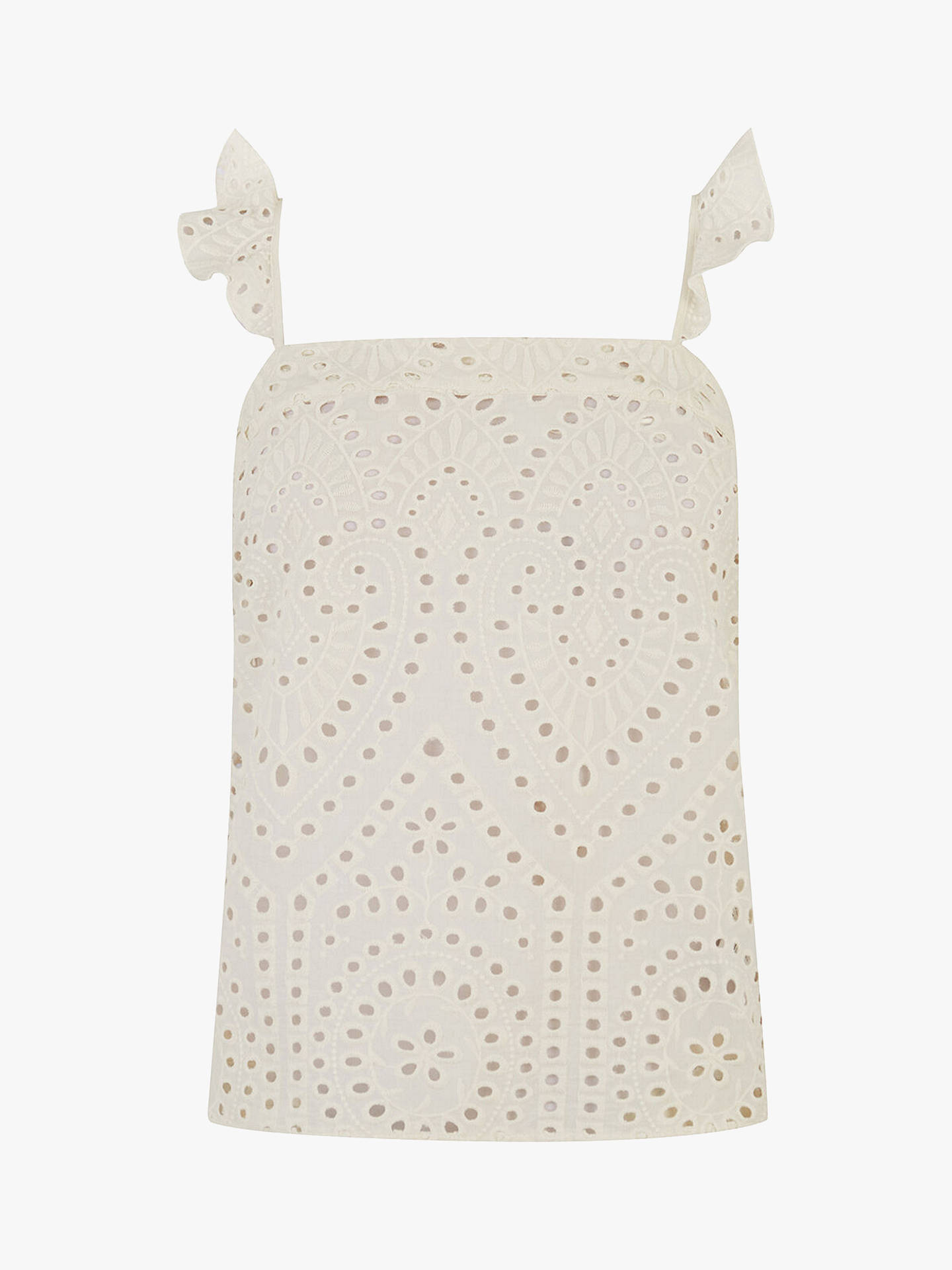 Buy Oasis Broderie Camisole Top, White, 12 Online at johnlewis.com