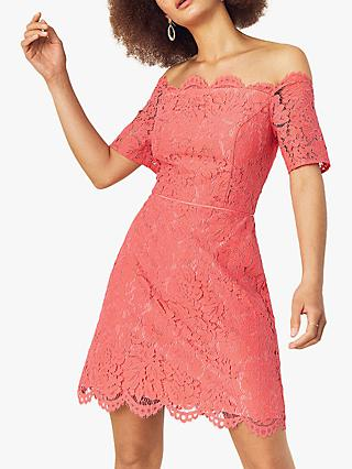 Oasis Lace Shift Dress, Coral