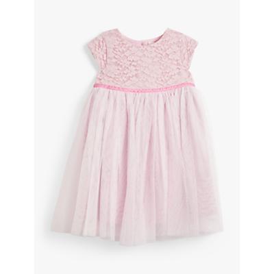 John Lewis & Partners Baby Lace Glitter Dress, Light Pink