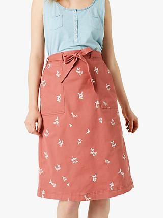 White Stuff Scentful Embroidered Skirt, Washed Pink Print