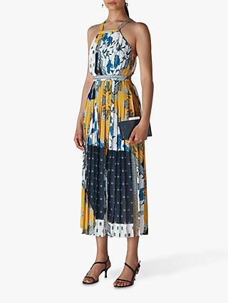 Whistles Patchwork Scarf Print Pleated Dress, Multi