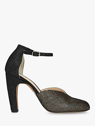 Chie Mihara Dari Block Heel Ankle Strap Court Shoes, Gold