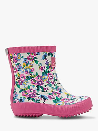 Little Joule Junior Floral Wellington Boots, Ditsy Pink