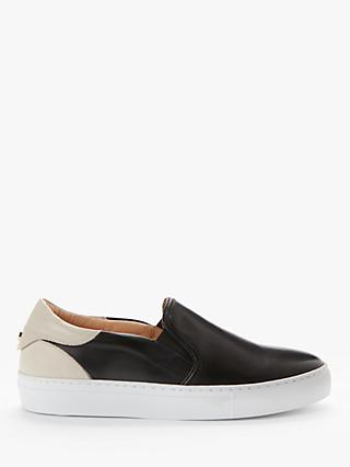 John Lewis & Partners Eltha Leather Slip On Trainers, Black