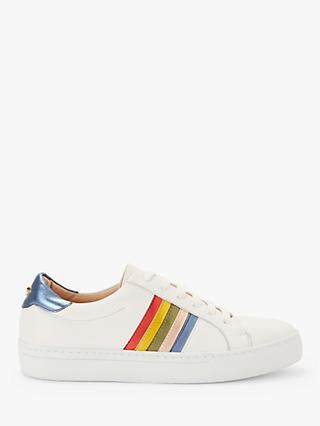 John Lewis & Partners Elma Leather Stripe Trainers, White
