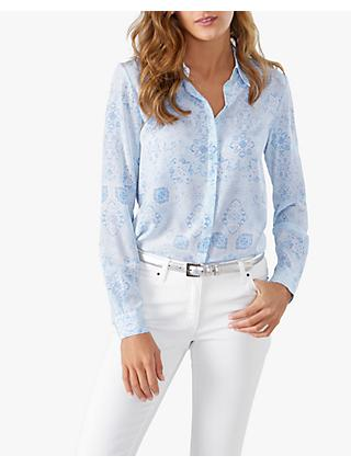 Pure Collection Washed Silk Blouse, Soft Blue Tile