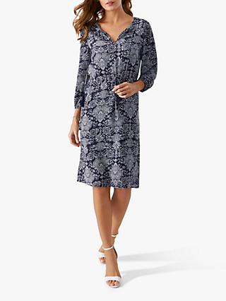 016aea1d0f91 Pure Collection Open V-Neck Tile Print Dress, Navy Ornate Tile