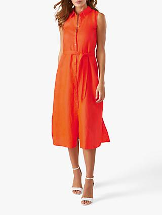 Pure Collection Sleeveless Linen Shirt Dress, Bright Coral