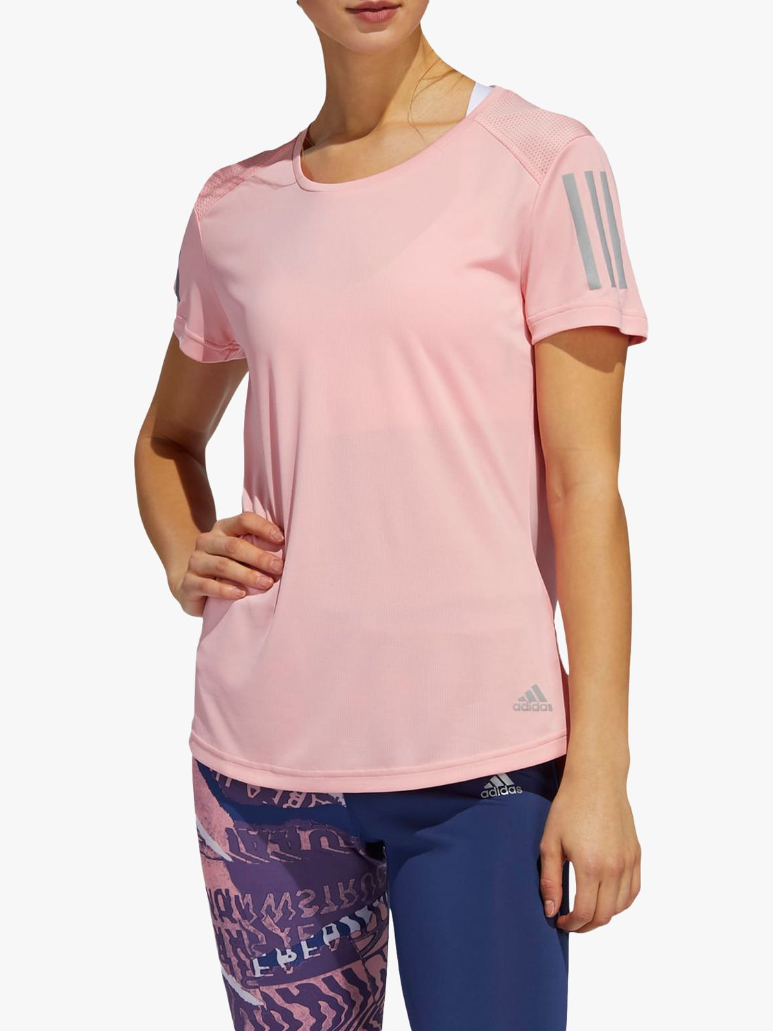 Adidas adidas Own The Run Short Sleeve Running Top, Glory Pink