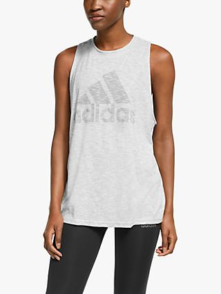 adidas Winners Tank Top, White Melange