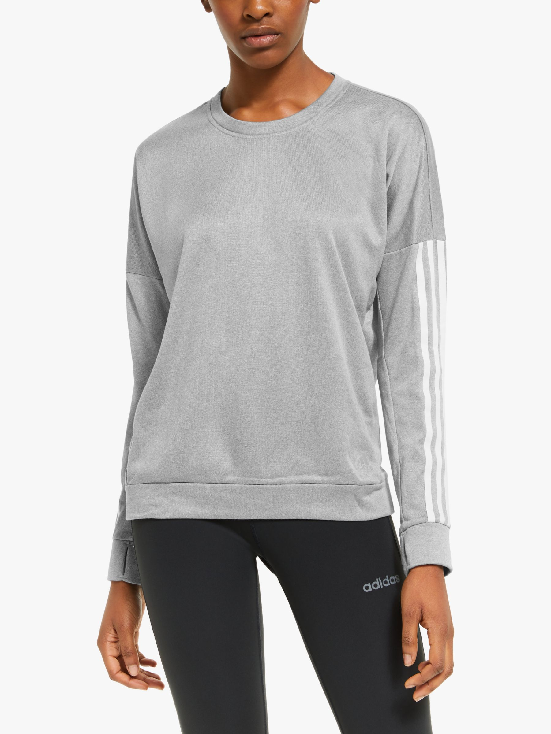 Adidas adidas Response Long Sleeve Running Sweatshirt, Medium Grey